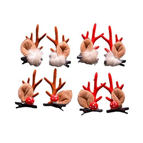 Lurrose 4 Paires de Pinces à Cheveux de noël Barrettes en Bois de Renne avec Pompon Boule Champignon Accessoires de Cheveux de Noël pour des Cadeaux de fête de Noël