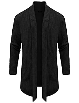 COOFANDY Mens Shawl Collar Long Cardigan Sweaters Long Sleeve Open Collar Sweater