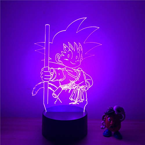 3D LED Nachtlampje Anime Dragon Ball Z Goku Kid Child Ver. Action Figure 7 Kleuren Touch Optical Illusion Tafelmodel