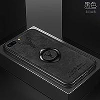 ケースIphone 7 Plus/Iphone 8 Plus、布の質感 人気 tpu ソフトフレーム ステルスサポート機能 子鹿 携帯ケース、耐衝撃 衝撃吸収 薄型 おしゃれ かわいい キラキラ 全面保護 qi 充電 ワイヤレス充電 ユニーク カバー、可愛い 面白い クリスタル フラッシュ ケース、耐汚れ 滑り防止 反指紋 反塵 超軽量 カバー、by beautycatcher - 黑