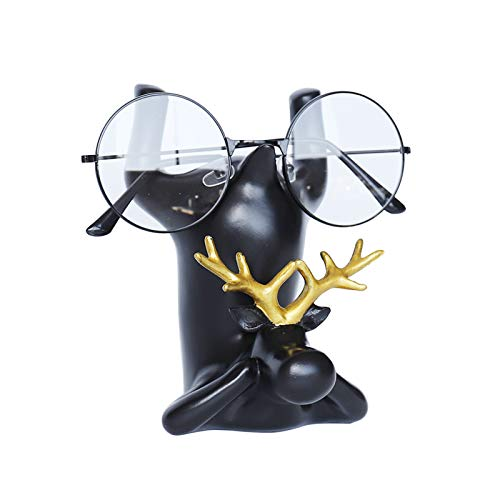 YNNG Creative Eyeglass Retainers, Deer Reading Glasses Display Stand Resin Handmade Crafts Sunglasses Holder Funny Decor Christmas Festival Gift,3