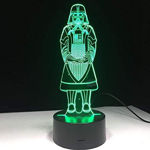 Lámpara de ilusión 3D Luz de noche LED Regalos creativos Muerte Star Wars Darth Vader Lámpara de mesa colorida USB Ambiente Decoración del hogar Dormitorio Los mejores regalos de vacaciones de cu