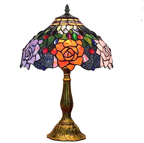 WTTWW Vector De Tiffany Rose Lámparas Retro Pastoral Stained Glass Pantalla Escritorio Se Ilumina La Lámpara De Rural Bar Club Decoración del Dormitorio Cuerpo De Iluminación De 12 Pulgadas E27