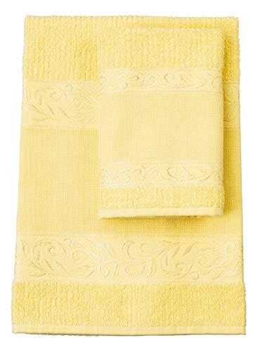 Filet Handtücher, 100% Baumwoll-Frottee, einfarbig, mit Aida-Einlage zum Nachfüllen - Gelb