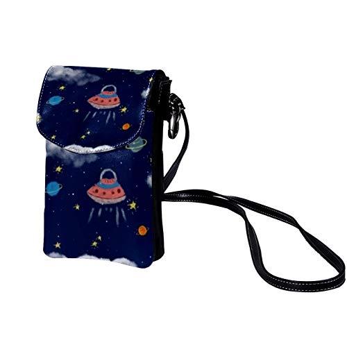 TIZORAX Alien UFO Cabin Small Crossbody Bag Cell Phone Purse Wallet for Women Girls