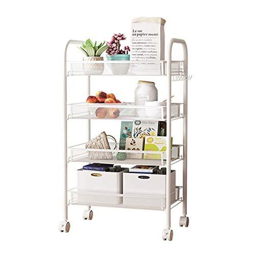 LeChamp Küchenwagen mit 4 Etagen, weiß, mit Griff, Rollwagen mit 360-Grad-Rädern, Mehrzweckregal für Büro, Garage, Badezimmer, mobiles Servierwagen