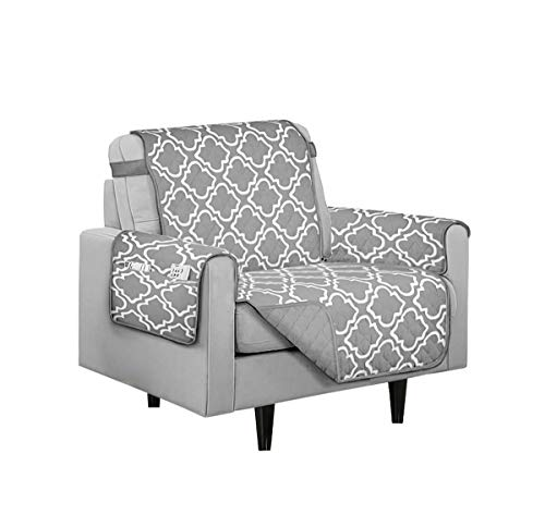 Austin Reversible Solid/Print Microfiber Furniture Protector with Strap & Side Pockets (Chair, Grey)