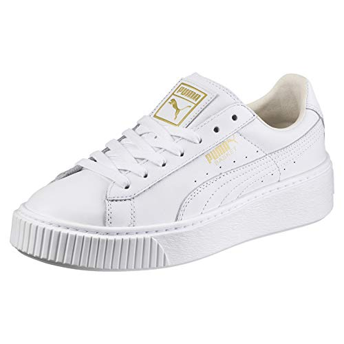 PUMA Basket Platform Core, Sneaker Donna, Bianca White-Gold, 41 EU