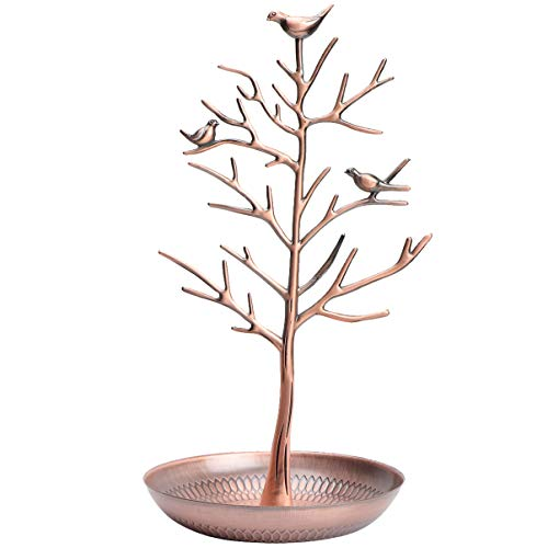 FRCOLOR Little Birds Tree Jewelry Stand Earring Necklace Display Stand Jewelrys Storage Towers for Home Organization(Rose Gold)