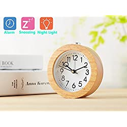 Alarm Clock Natural Wood Clock Large Face Alarm Clock with Night Light Ceiling Clocks Display Time