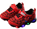 2019 Otoño Nuevos Zapatos Intermitentes para Niños Zapatos Deportivos para Niños Zapatos Spider-Man Zapatos De Suela Blanda (EU27,Rojo)