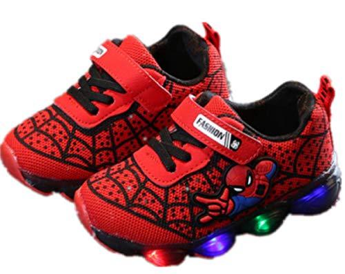 2019 Otoño Nuevos Zapatos Intermitentes para Niños Zapatos Deportivos para Niños Zapatos Spider-Man Zapatos De Suela Blanda (EU26,Rojo)