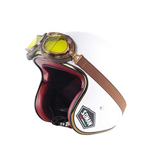 St. Mensch Jet Casco de Cara Abierta Motocicleta Casco de Moto Scooter Ciclomotor Chopper Retro Cruiser Pilot Biker Casco con Visera de Gafas Liberación rápida