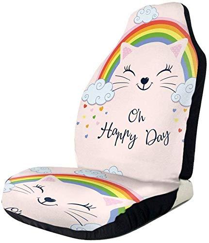 Schapen grappige kat onder de regenboog auto voorzijde stoelhoezen, past bijna auto's, vrachtwagens, bestelwagens, SUV 2 PCS Als afbeelding