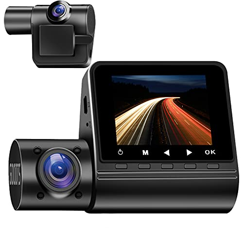 1080P Dual Dash Cam Front and Inside, GOODTS 170° Wide Angle Dash Camera for Cars , Dashcam for Cars with G-Sensor Motion Detection Parking Monitoring Loop Recording Night Vision for Truck Taxi.