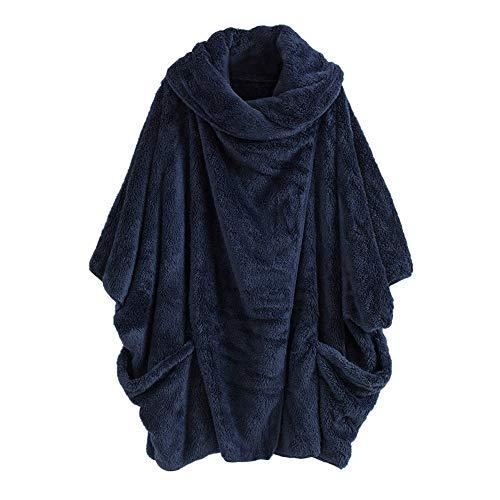 MYMYG Damen Mantel Fleecemantel mit Kapuze Strickjacke Winter Plüschjacke Warm Winterjacke Steppjacke Outwear Cardigan Langarm Teddy-Fleece Parka Kapuzenjacke Trench Coat (B2-Blau,EU:40/CN-XL)