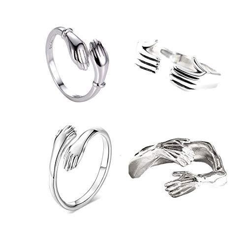 1-4 Pcs Stainless Steel Hug Ring Silver Hugging Hands Open Finger Rings Lovely Hug Hands Statement Ring for Women Girls-4pcs