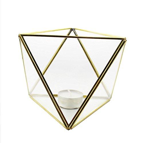 Mitienda Geometrisch terrarium goud, geometrisch decoratief glas terrarium broeikas driehoek | bloempot | plantenbak terrarium | raamdecoratie decoratie decoratie vaas