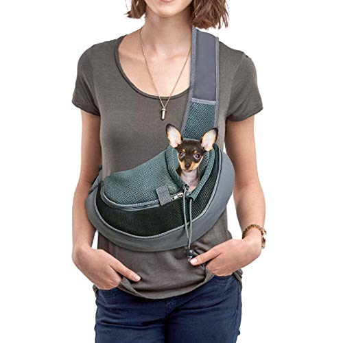 YZCXNDS Pet Dog Sling Carrier, with Breathable net, Adjustable Shoulder Strap, Mobile Phone Key Portable net Pocket, Dog Sling Carrier Suitable for Outdoor Travel (Small, Black)