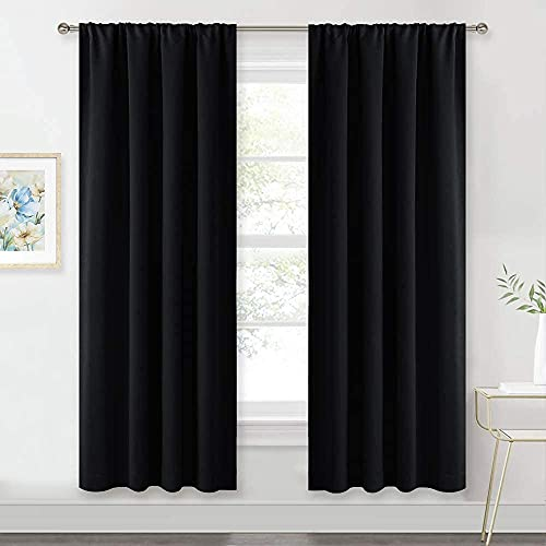 Bedroom Window Treatments Blackout Curtains - RYB HOME ( 42 Wide x 72 Long, Black, 2 Pieces ) Blackout Rod Pockets Drapes Panels Windows Shades Energy Efficient Privacy Protect for Living Room