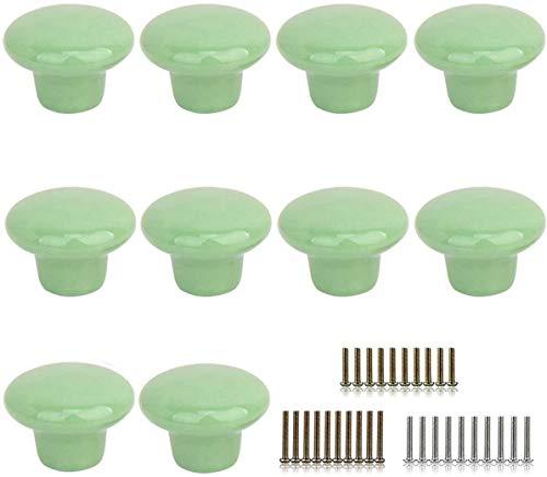 10 Stks ronde vorm keramische deurknop dressoir lade locker Pull handgrepen kast knoppen met 3 grootte schroeven Groen