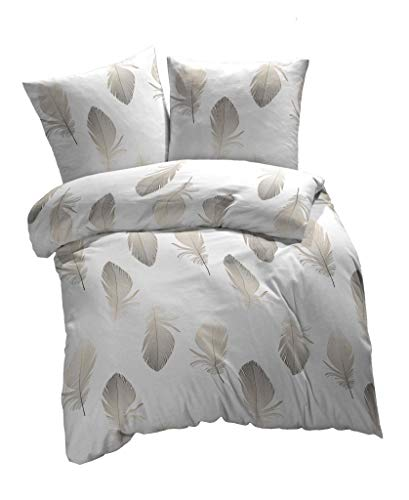 etérea Baumwolle Renforcé Bettwäsche - Federn - weich und angenehm auf der Haut, 4 teilig 135x200 cm + 80x80 cm, Weiß