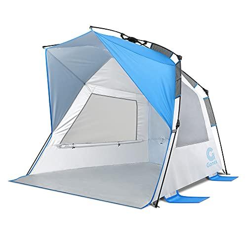 Gonex Strandmuschel UV-Schutz 50+ Pop Up Strandzelt für 1-4 Personen, Tragbar Quick Up Beach Zelt für Familie mit Tragetasche, Intern Aufbewahrungstasche und 3 Belüftungsgitterfenster