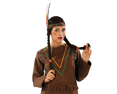 My Other Me Me-201387 Peluca india con trenzas, Talla nica (Viving Costumes 201387)