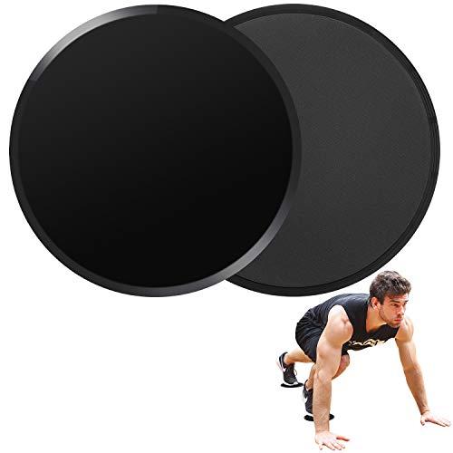 Core Sliders de Ejercicio de Deslizamiento de Doble Cara Disco Abdominales para Abs Entrenamiento, Hogar, Yoga, Fitness, Pilates, Ejercicios de Cuerpo para alfombras y Pisos Duros (Black)