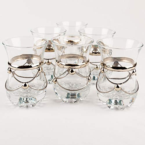 Orientalische verzierte Teegläser Set 6 Gläser Samsun Klar | Marokkanische Tee Gläser 6 Farben Deko orientalisch | 6 x Orientalisches Marokkanisches Teeglas verziert | Modern schlicht