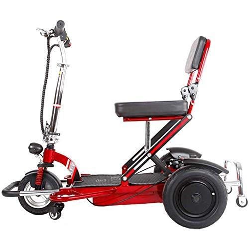 J&Z Plegable Silla de Ruedas eléctrica para Ancianos discapacitados eléctrico Triciclo Inicio Vespa de Motor sin escobillas de Litio de la batería Doble Freno de Disco con Luz