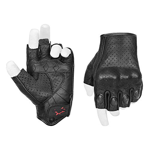 Half Finger/Fingerless Motorcycle Gloves Armored Genuine Goatskin Leather With Perforated Hole For Men(G11-Black,S)
