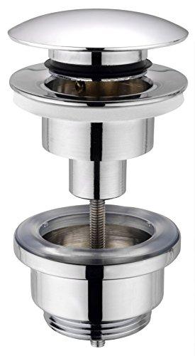 Cornat Ablaufventil für Waschtische - 1 1/4 Zoll AG - Ø 66 mm - Mit Push-Open-Funktion - Hochwertige Verchromung / Pop-Up-Ventil / Waschbeckenablauf / T317421