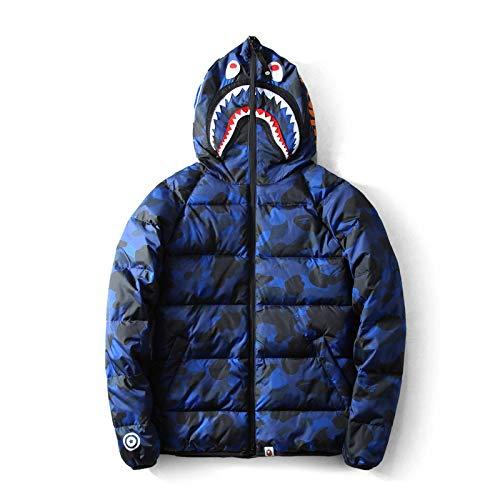 Winterjacke Herren Kapuze Daunen Parka Männlich Warmer Wintermantel Herren Dicker Reißverschluss Patchwork Camouflage Jacke Outwear Plus Size XL Blau