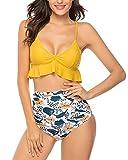 UMIPUBO Bikinis Mujer Push Up Halter Bikini Traje de baño Conjunto de Bikini de Play Acolchado Bra Tops y Braguitas Dos Piezas Bikini Sets Volante Estampado de Cintura Alta Talla Grande Bañador
