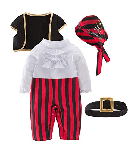 May's Baby Boys Captain Infant Costumes Cap Stinker Pirate Costume 4pcs Set, 2-3 Years, Black