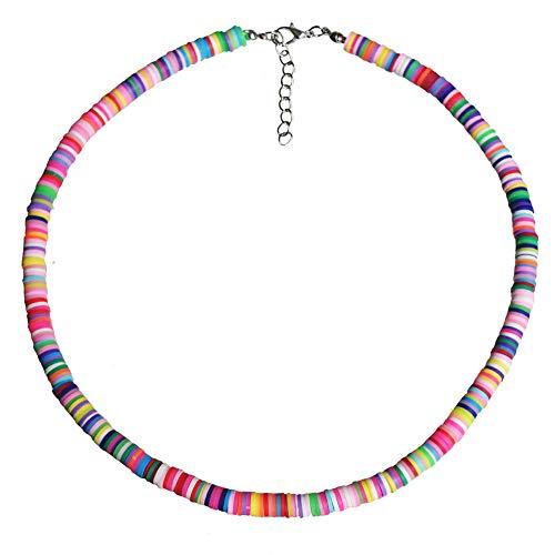 EXINOX Collar de Arcilla Polimerica Hecho a Mano | Bohemio Hippie | Mujer Hombre | (Multicolor)