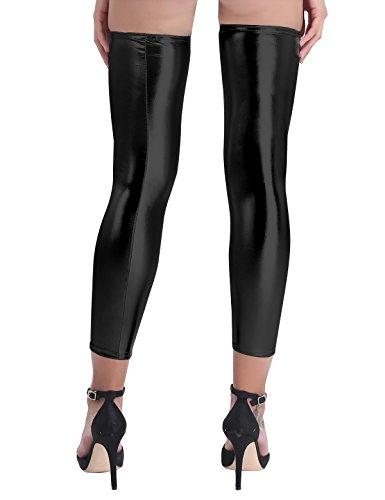 Freebily Femme Legging Erotique Bas Chaussettes Collants Jambières Cuir Brillant Guêtre Sexy Latex Effet Mouillé Auto-fixant Multi-Colore Noir Taille unique