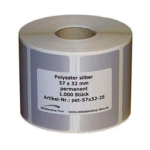 Etiquetas/etiquetas de poliéster, 57 x 32 mm, 1000 unidades, color plateado, casquillo de 25 mm