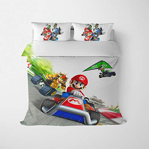 ZHAOYONGBING Mario Bedding Sets Bedding Set For With 3D Solid Multicolored Polyester 3 Pieces 1x Duvet Cover And 2 Pillowcases figure39-Double-200x200cm