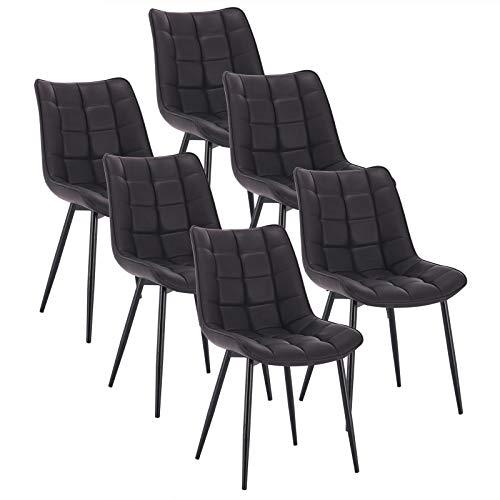 WOLTU 6 x Esszimmerstühle 6er Set Esszimmerstuhl Küchenstuhl Polsterstuhl Design Stuhl mit Rückenlehne, mit Sitzfläche aus Kunstleder, Gestell aus Metall, Anthrazit, BH207an-6