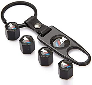 Aswelly 4 Pack Valve Stem Caps - Universal Black Car Tire Valve Stem Air Caps Cover + Keychain for ///M