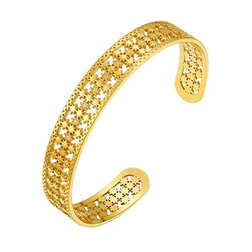 PROSTEEL Gold Cuff Bracelets for Women Men Bangles
