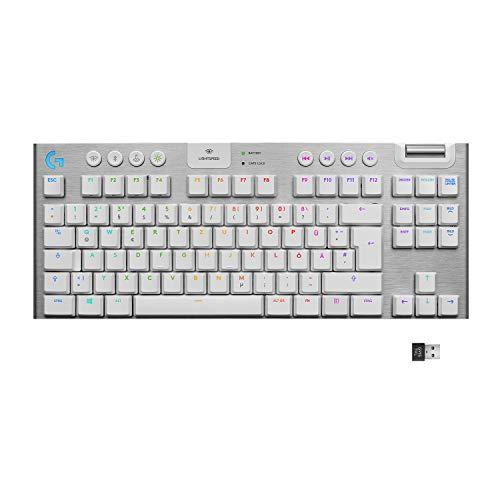 Logitech G915 LIGHTSPEED TKL Tenkeyless kabellose mechanische Gaming-Tastatur, Taktiler GL-Tasten-Switch, LIGHTSYNC RGB, Ultraschlankes Design, 40+ Stunden Akkulaufzeit, Deutsches QWERTZ-Layout - Weiß