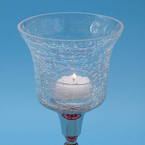 Pommerntraum ® | Teelichtaufsatz Windlichtaufsatz Kerzenleuchter-Aufsatz Glasaufsatz für Kerzenleuchter Kerzenhalter Kerzenständer CRAQUELÉ mittel