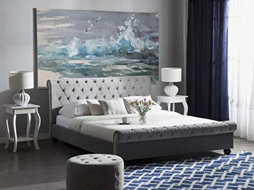 Beliani Stilvolles Bett Polsterbezug Samtstoff Chesterfield Style hellgrau Avallon