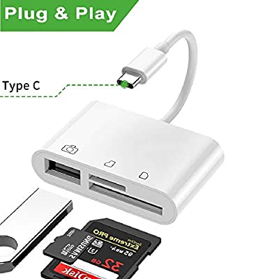 FLYLAND USB C SD/TF Card Reader, USB Camera Adapter, 3 in 1 Kit Memory Card Reader & OTG Cable Adapter for Type C Device, Compatible with i Pad Pro,Mac, Huawei,Samsung,Android etc