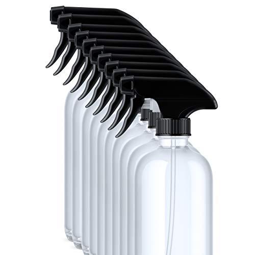 Packano 10stk. x 500ml leere PET Sprühflaschen klar I transparent mit schwarzem Sprühkopf I Spray Bottle I Sprühflasche