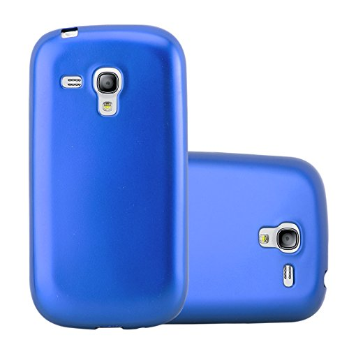 Cadorabo Hülle für Samsung Galaxy S3 Mini - Hülle in METALLIC BLAU – Handyhülle aus TPU Silikon im Matt Metallic Design - Silikonhülle Schutzhülle Ultra Slim Soft Back Cover Case Bumper