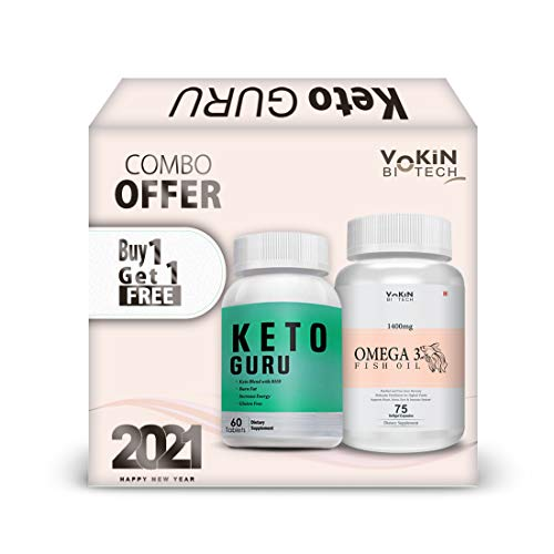 Vokin Biotech Keto Guru 60 Tablets for weight loss with Omega 3 Fish Oil 75 Tablets Free